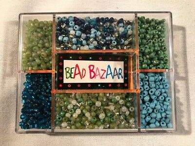 NEW - Bead Bazaar - Box of Beads in Shades of Green and Blue