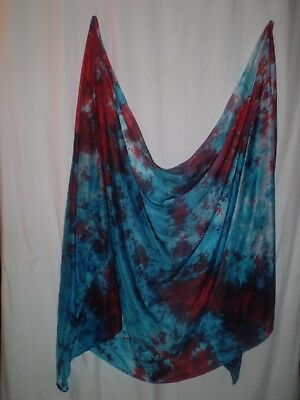 Belly dance costume  veil silk hand-dyed in US: reds turquoise