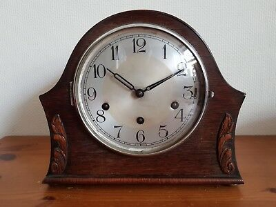 Antique German Made Haller 8 Day Pendulum Wooden Mantel Clock Westminster Chimes