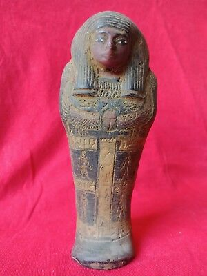 Ancient Egyptian Royal Shabti Ushabti Egyptian Ancient Faience isis wings