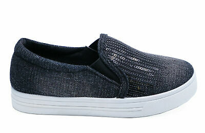 Childrens Kids Girls Black Slip-On Casual Shoes Trainers Dance Pumps Sizes 8-1