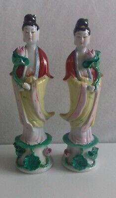Pair 2 Chinese Porcelain Lady Figurines Holding Lotus Flower. Hand Painted.