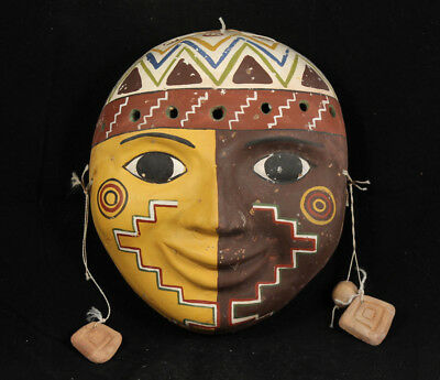 Vintage Mexican Ceramic Hanging Mask Folk Art Hand Made Decorative w Earrings
