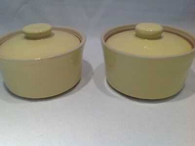 2 x Denby Langley Yellow  Covered Soup/Casserole Bowls