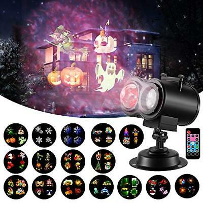 Halloween Christmas Projector Light, 16 Slides 2-in-1 Ocean Wave Projector for