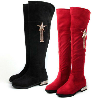 Kids Girls Tassels Winter Warm Over The knee High Boots Low Heel Riding Shoes