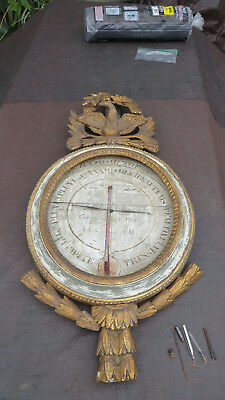 Antique French Barometer Thermometer Louis XV Circa 18th Century For Restoration