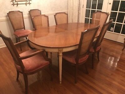 Vintage Kindel Furniture Cherry dining room set 6 chairs leaves pads provincial