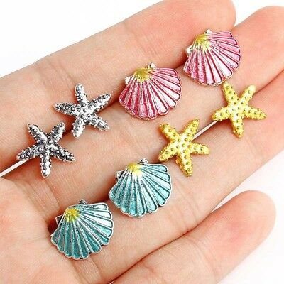 4 Pairs/set Boho Gold Silver Ear Stud Earrings Sea Shell Starfish Beach Jewelry