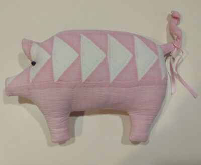 Stuffed Quilted Animal Pig, Pink & White