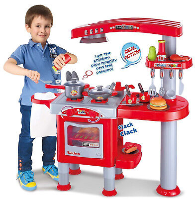Kids Childrens Large Role Play Kitchen Cooking Pretend Cooker Chef Playset Toy (