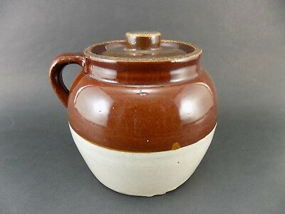 VINTAGE Blue W Crown 2qt Quart Pottery Crock With Handle And Cover