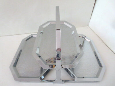 VINTAGE 1930's ART DECO CHASE CHROME FOLDING TIDBIT SERVING TRAY 3 TIERED TRAYS