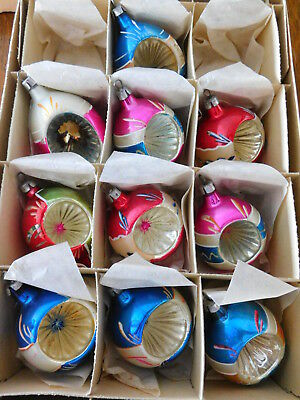 Vintage Christmas Poland Hand Painted Mica Tear Drop Indent Glass Ornaments IOB