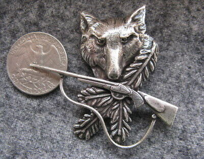 Wolf & Rifle Hunting Hat Pin Wwii 1937 Jager German  Genleman Piece Large  Mint