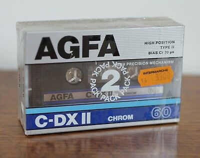 2 Cassettes Tape Neuve Sealed AGFA C-DX II 60 Made in Germany