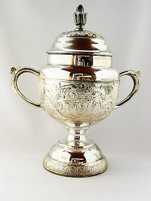 """Antique extra large 10"""" silver plated bowl with lid Toronto Silver Plate Canada"""