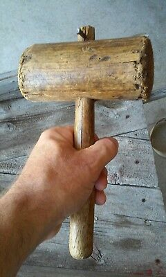old antique primitive wooden hammer mallet barn beam carving farm tool