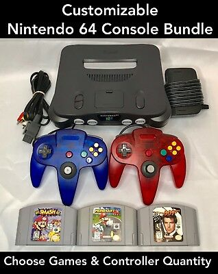 N64 Nintendo 64 Console with New Controllers - Mario Kart, 007, Super Smash