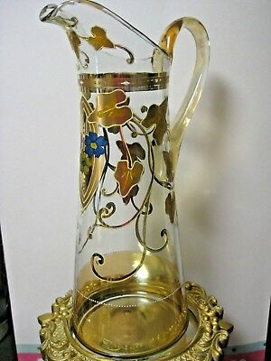Beautiful Antique Art Nouveau Glass Pitcher, Handpainted - Tall and Graceful!