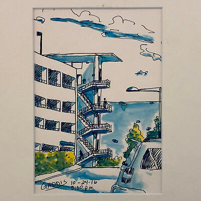 """""""STAIRS"""" ORIGINAL INK & WATERCOLOR by TONY GADDIS"""