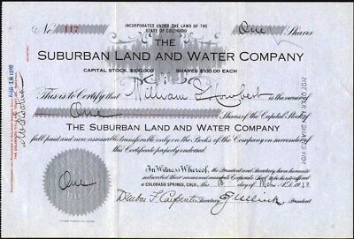 Suburban Land And Water Co, Colorado Springs, Co, 1910, Uncancelled Stock Cft.