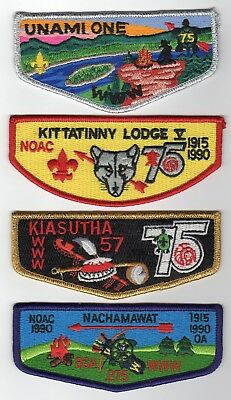 Boy Scout OA (4) different PA OA 75th 1990 NOAC flaps Lodge 1, 5, 57 & 275