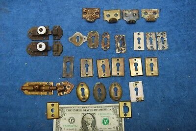 29pc lot Antique Ornate Brass Locking Latch, Key Hole Covers. Cast Iron Hardware