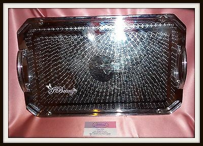 Vintage ~ Chrome / Stainless Steel Oblong Drink Bar Tray ~ Estate Collectable