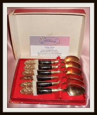 Estate Collectable ~ Small Brass Thailand Siam Tea Spoon Box Set  ~ Vintage