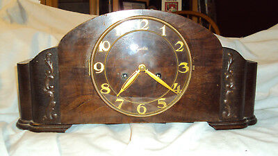 Antique German FMS Mauthe Deco Wood Mantle clock 8 day bim bam strike runs