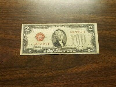 1928 E $2 Two Dollar Bill United States Legal Tender Red Seal Note Money