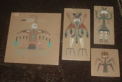 VINTAGE Lot of 4 Native American Sand Paintings Signed