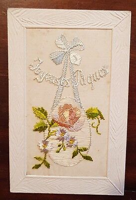 WW1 Embroidered on silk card.