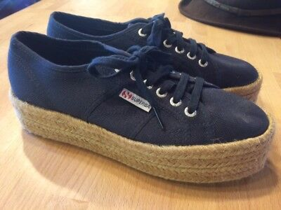 68ad3f2a612 GREAT - Superga 2790 Cotropew Navy Blue Platform Espadrille Shoes Sneakers  - 40
