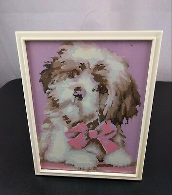 VTG Paint By Numbers Dog Picture PNB Maltese Bow Framed Cute Animal Local Art