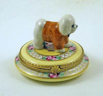 New French Limoges Box Cute Dressed Up Bichon Frise Dog Puppy On Beautiful Roses