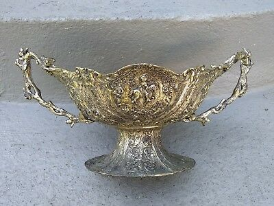 """Antique Barbour Repousse Handchased Ornate 11"""" Silverplated Centerpiece  Bowl"""