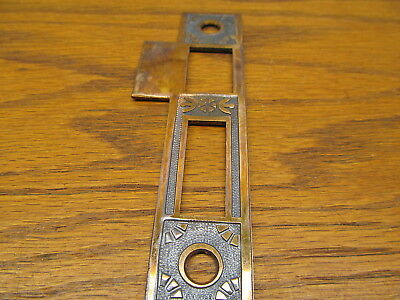 Old Brass ? Bronze ? Eastlake ? Door Strike Plate....ornate Both Sides