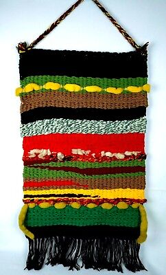 Vintage Wall Hanging Tapestry Wool Fiber Art Woven Textile Fringes Multi Color