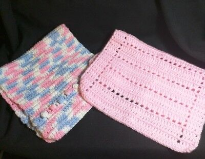 Pair Of Hand Crocheted Burping Cloths For Babies
