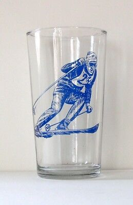 1975 Blue Skier Kraft Cheese Swanky Swig Glass Tumbler-Excellent Condition