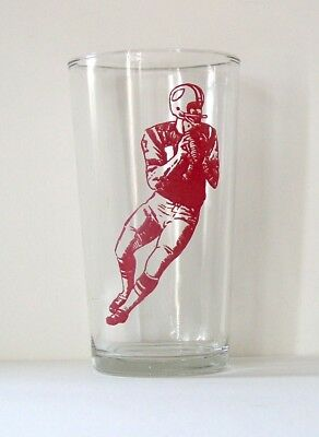 1975 Red Football Player Kraft Cheese Swanky Swig Glass Tumbler-Excellent