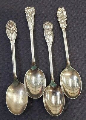 PRIMANS Alp. Sweden 4 Silverplate Demitasse Spoons Four Flowers preowned
