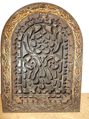 Ornate Antique Cast Iron Arch Top Heating Grate Vent Register Cover w/louvers