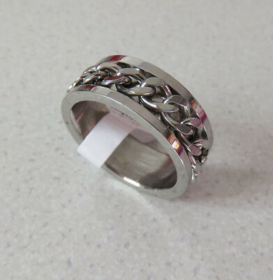 Rotating Chain Spinner Ring Quality STAINLESS STEEL Size: 8.5 (R) 8 mm wide