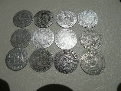 Lot of 12 Polish Coins from the 1600s - Poland