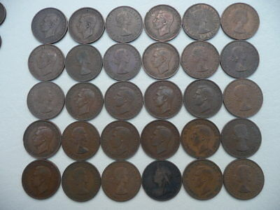 Lot of 30 Half Penny Coins of England - mix of reigns