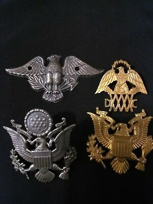 Vintage military lot WW2 US eagle hat medals + pins  lot #4
