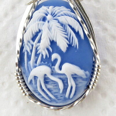 Flamingo Bird Blue Cameo Pendant .925 Sterling Silver Jewelry Art Resin